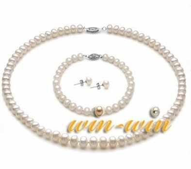 white color Natural Freshwater Pearl Jewelry Set, 7-8mm Pearl Necklace/Bracelet/Earrings Set, Fashion Bridal Jewelry Set