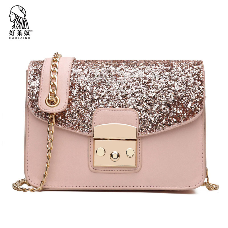 Fashion Crossbody Bags For Women Messenger Bag Sequined High Quality PU Leather Womens Flap Bag Chain Strap Female Shoulder Bag