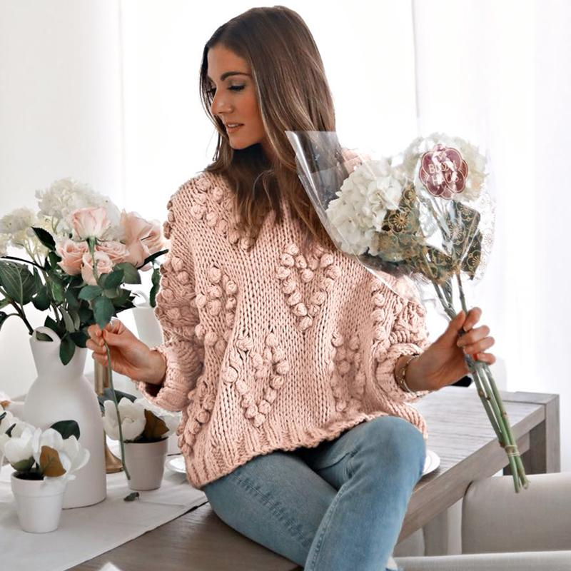 Mossha Pink lantern sleeve Casual knitted sweater women 2019 Autumn Ladies Jumper o-neck Loose Pompon Pullovers female sweater