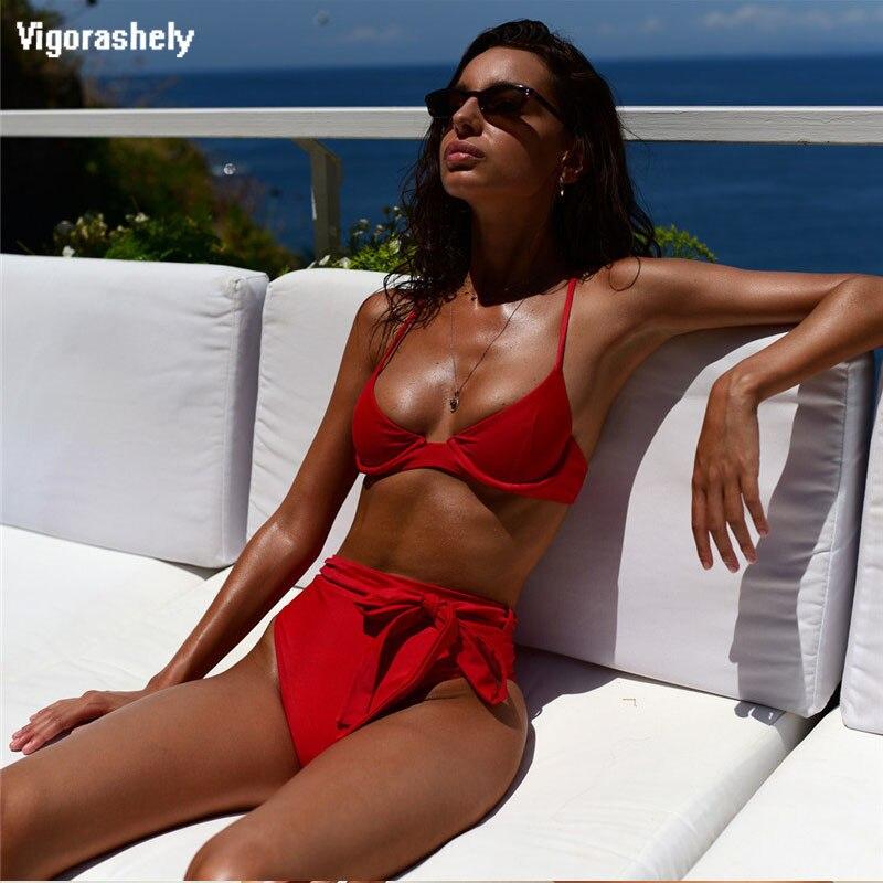 Bikini Push Up rojo para mujer, bañador Sexy de cintura alta, traje de baño de mujer con parte inferior atada, ropa de playa a rayas de leopardo, traje de baño 2020