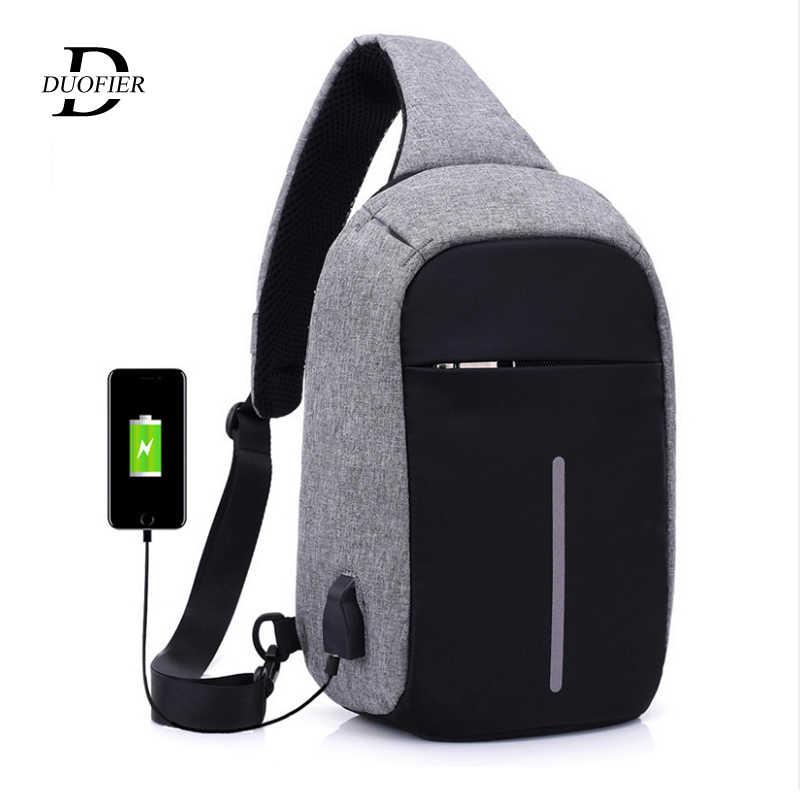 USB Pengisian Bahu Tas Selempang Pria Pencuri Pria Wanita Siluman Zipper Bisnis Dada Anti Tas Anti-Theft paket