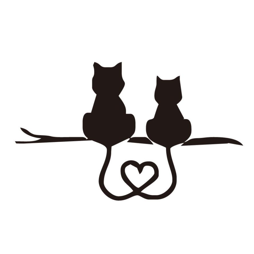 Картинки для, открытки с силуэтами кошек