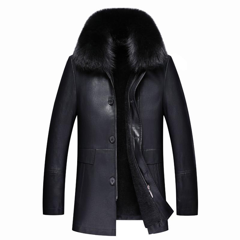-30 Grad Warme Leder Jacke Für Kaninchen Pelz Kragen Eine Winter Jacke Der Neuen Männer Winter Mode Dicke Warme Winter Leder Jacke