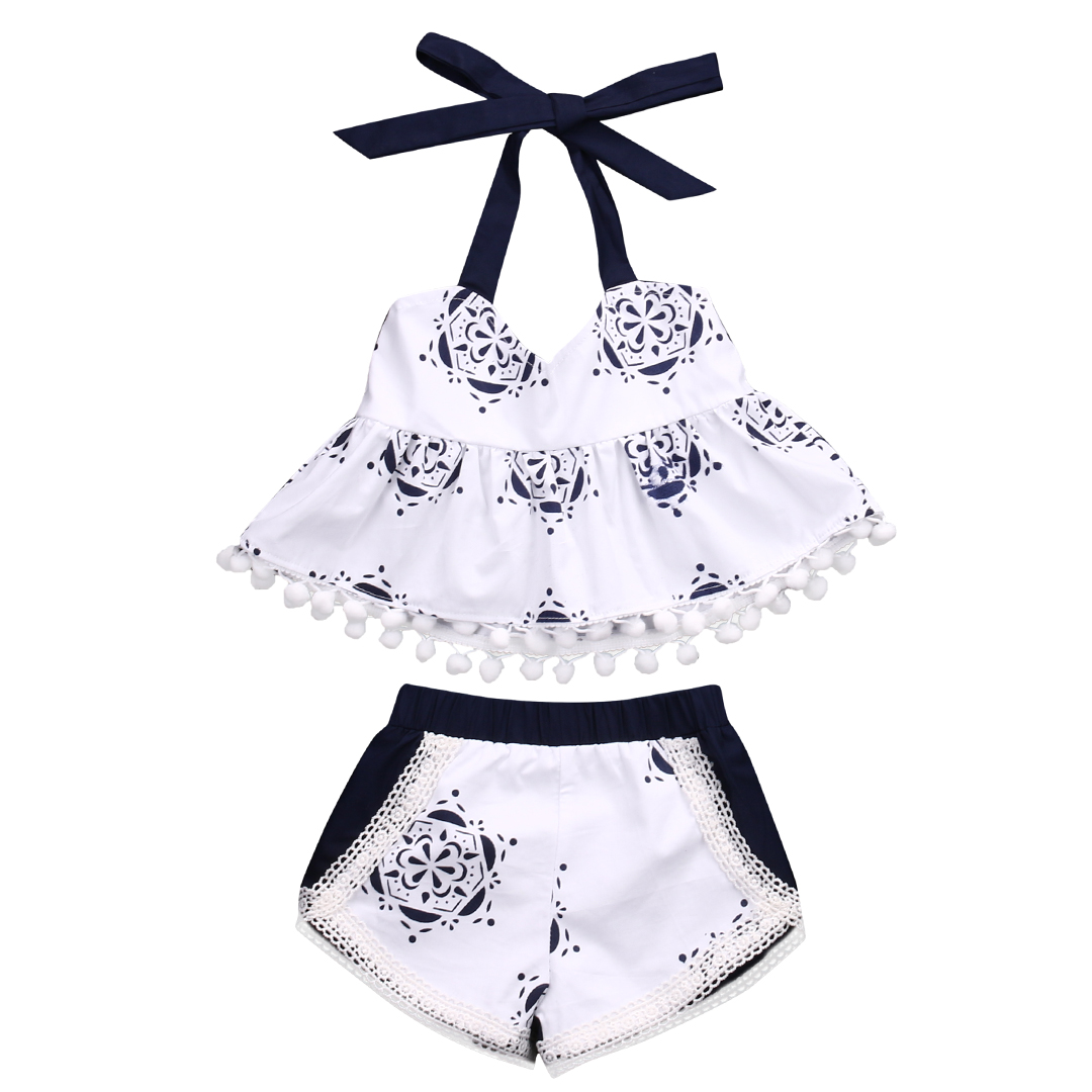 Cute Newborn Baby Girl Clothes 2017 Summer Sleeveless Tank Top Tassel T-shirt + Short Pant 2PCS Outfit Bebek Giyim Toddler Suit 2017 floral baby romper newborn baby girl clothes ruffles sleeve bodysuit headband 2pcs outfit bebek giyim sunsuit 0 24m