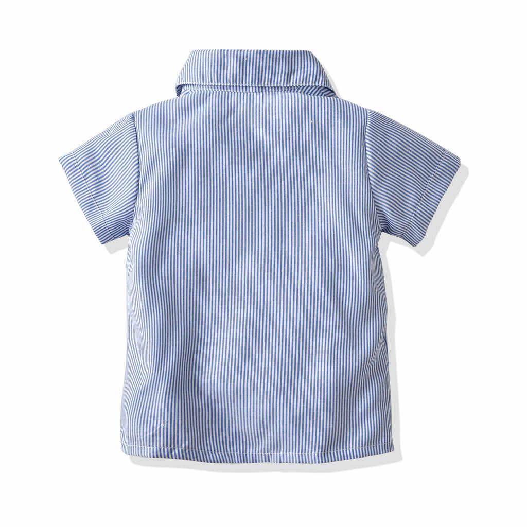 פעוט תינוק נערי קיץ בגדי אדון חליפות קצר שרוול חולצה ביריות מכנסיים תלבושת סט ropa נינה bebes קיץ 2019