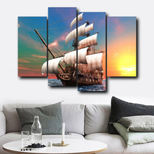 Laeacco Posters Prints Sailboat Sunshine Wall Art Canvas Calligraphy Painting Living Room Wedding Decor Home Decoration