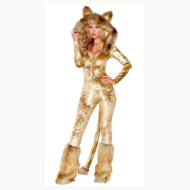 Halloween Animal Cosplay Party Costume Deep V neck Faux Fur Jumpsuit Sexy Women Long Sleeve Catwoman Jumpsuit