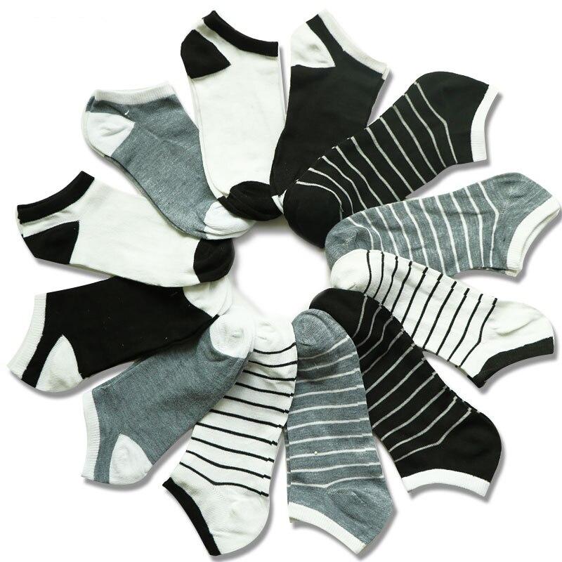 6Pair Fashion Black Grey White Unisex Women's   Socks   Short Low Cut Ankle   Socks   Female   Socks   Striped Solid Spring Autumn   Sock