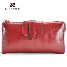 Difenise Brand Luxury Women Genuine Cowhide Leather Top Purse Women's Clutch Wallets Handy Bags Woman Wallets With Gift Box