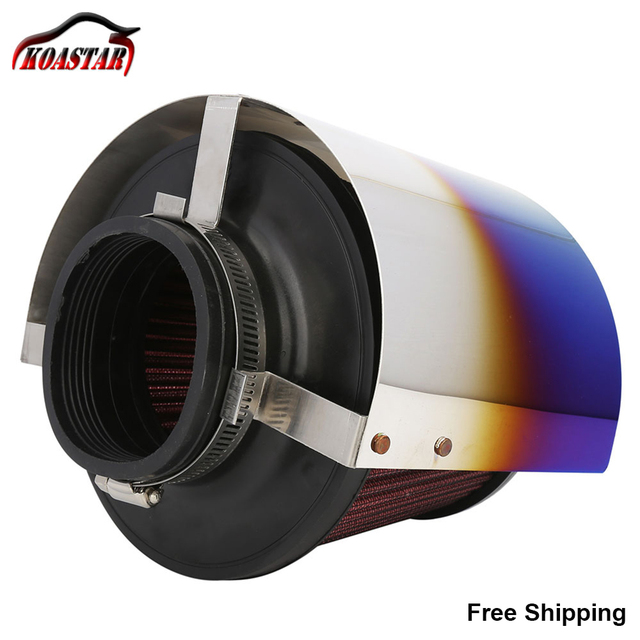 Stainless Steel Neochrome Racing Car Cold Air Intake Cone Sport Air Filter Cover Heat Shield For 2.5''-5'' Neck