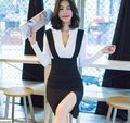 2016 brand spring white black  v neck shirt+bib skirt two piece set  elegant slim OL office strape pencil skirt high waist LT81