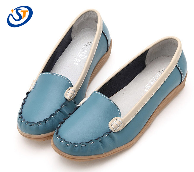 2016 New Fashion Women Flats Shoes Genuine Leather Rubber Sole Casual Shoes Work Flats Women 3 ...
