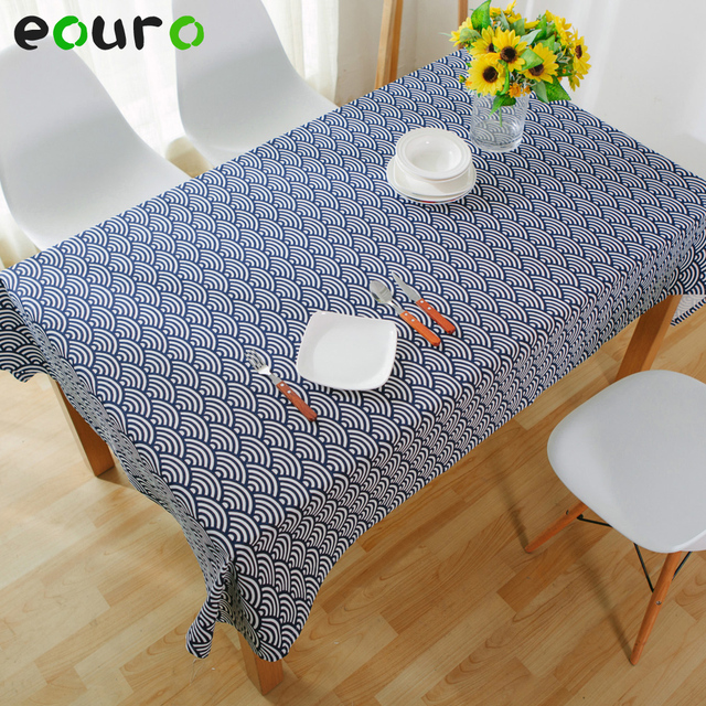Navy Blue Wave Printing Design Linen Lace Table Cloth Desk Cover Tablecloth  Home Decoration Cover