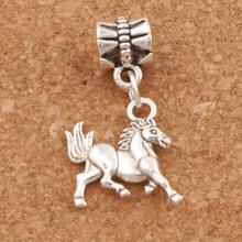 My Little Horse Charm Beads 16x26mm 100pcs Antique Silver Dangle Fit European Bracelets Jewelry DIY B181 frog charm beads 30 8x15 6mm 100pcs antique silver dangle fit european bracelets jewelry diy b167