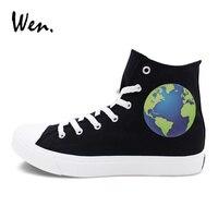 Wen Classic Black Sneakers For Men Women Canvas Shoes Original Design Earth Skateboarding Shoes High Top