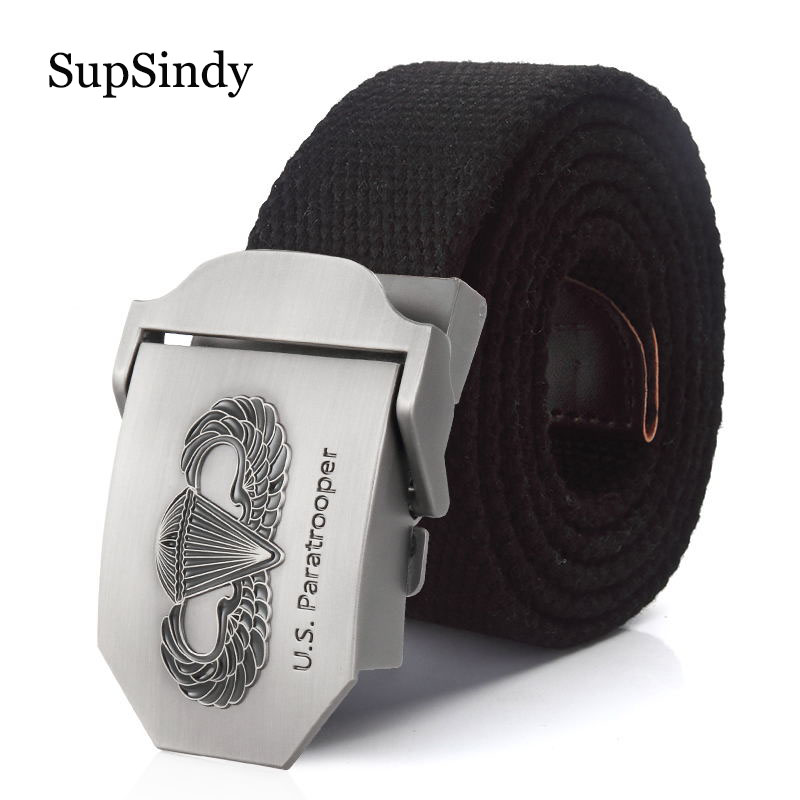 SupSindy New Men&Women Military Canvas   belt   luxury US paratrooper Metal buckle jeans   belt   Army tactical   belts   for Men strap male