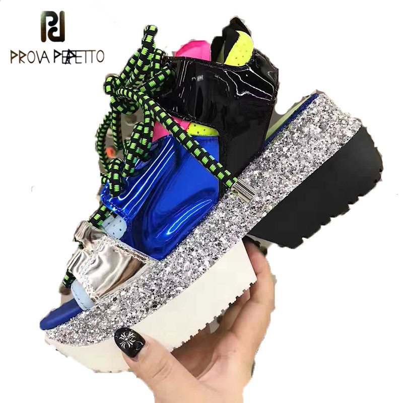 Prova Perfetto New Bling bling Sequins Patent Laether Sneakers Women Casual Shoes Platform Wedge Heel Peep Toe Summer Shoes 2019Prova Perfetto New Bling bling Sequins Patent Laether Sneakers Women Casual Shoes Platform Wedge Heel Peep Toe Summer Shoes 2019