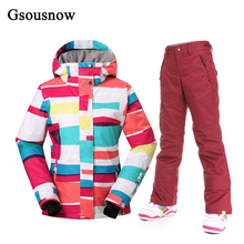 Gsousnow Womens Ski Jacket and Pants Set Winter Snowboard Sports Outdoor Snow Wear Trousers Waterproof Polyester Female Coat