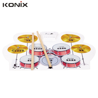 NEW Drum Kit PC Desktop Roll up Electronic Drum Pad Portable with Drumsticks