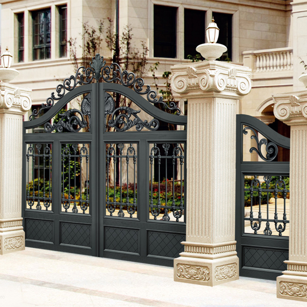 Home Design Gate Ideas: European Design Black Villa Outside Gate, Flowers Carving