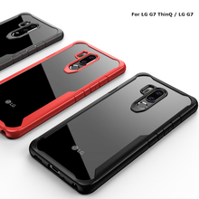 For LG G7 ThinQ Case Soft Silicone+Transparent PC Armor Back Cover Funda Capa G710 Fit 6.1 Anti-Shock Phone Shell