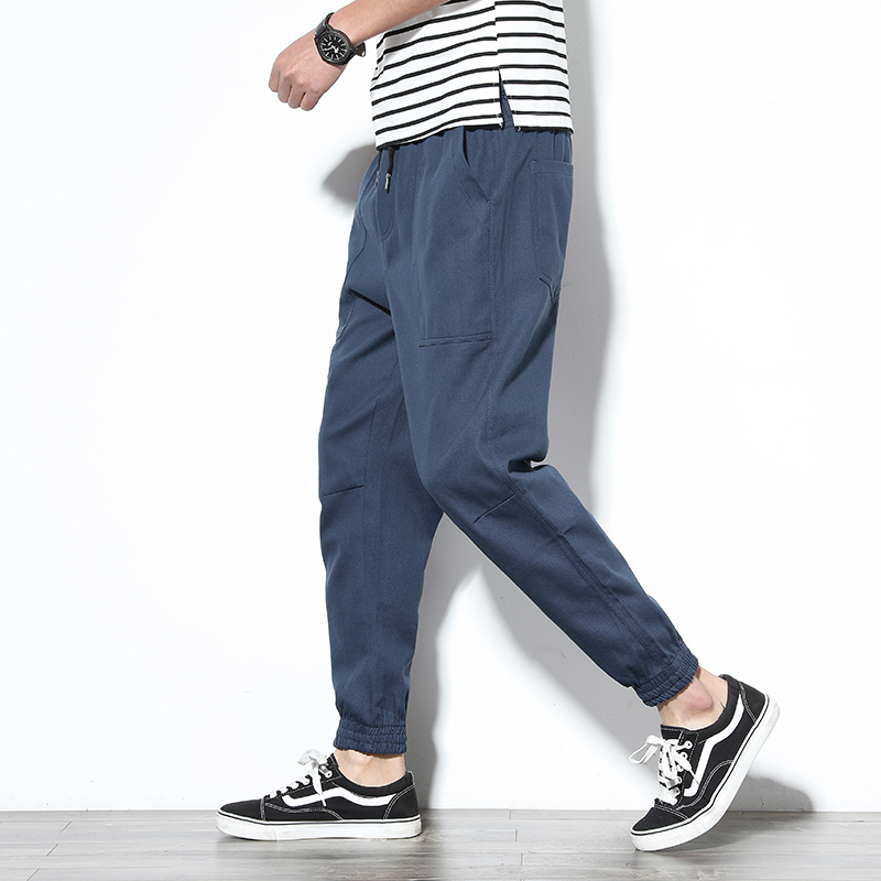 Spring Mens Cargo Pants Cotton Comfortable Solid Pencil Pants Drawstring Black Navy Khaki Casual Joggers Men Pants BINHIIRO 2019