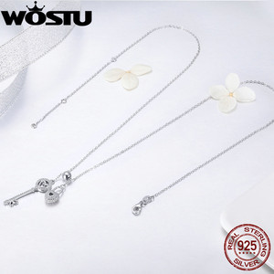 Image 5 - WOSTU Luxury 925 Sterling Silver The Key of Heart Lock Pendant Necklace For Women Girlfriend Wife Fashion Jewelry Gift CQN290