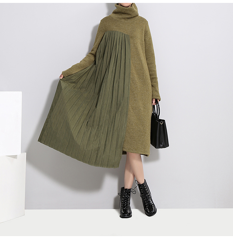 New Fashion Style Green Pleated Sweater Patchwork Dress Fashion Nova Clothing
