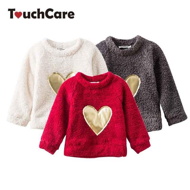 fa68588c6b28 Baby Girl Fleece Sweater Heart Appliques Girls Blouse Fleece Girl s ...