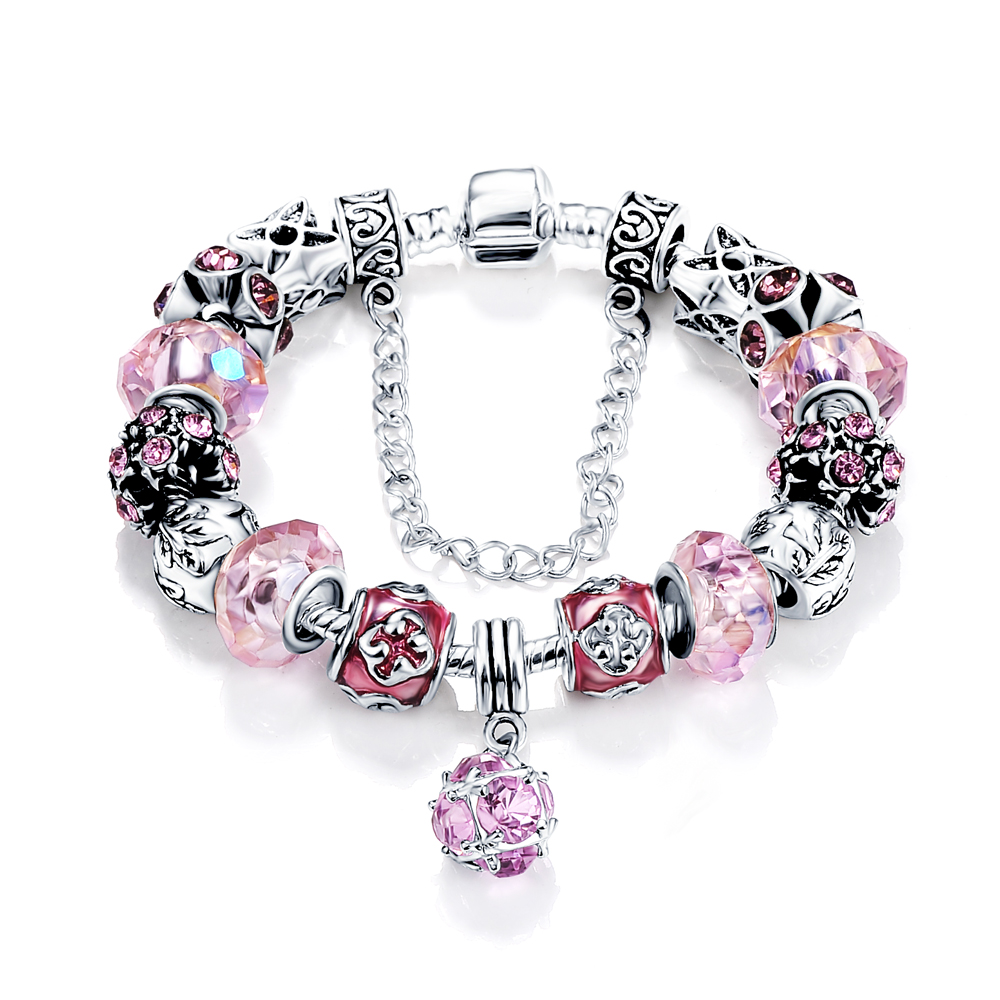 Metal Charm Bracelets: Hot Antique Silver Charm Bracelet & Bangle Pink Color