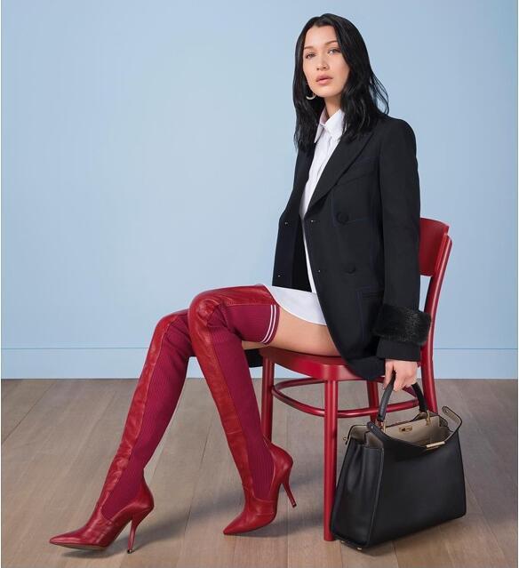 Genou Pour as Tricot Marque Sur Bottes Noir Véritable Haute Mujer Avec De As Show Show Luxe Zapatos En Slip Chaussures Rouge Cuir Femmes Talons BwvPB6xq