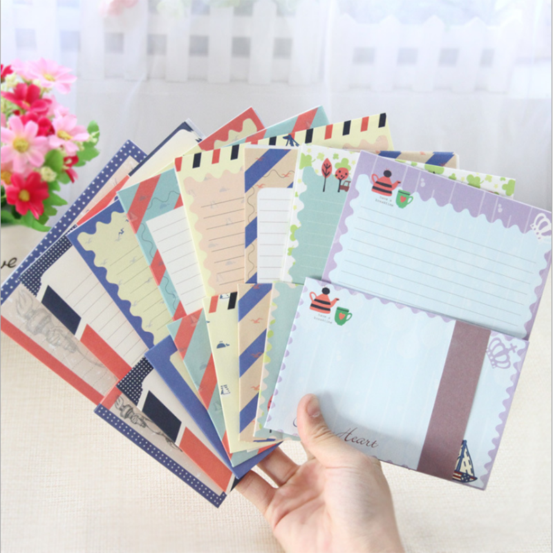 1set / Lot Creative Vintage, Navy DIY Multifunctional Letter Set With Paper Envelope / Paper Package 8 Random Transmissions