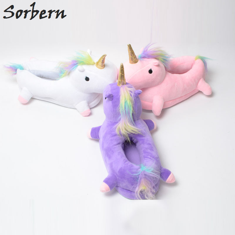 Sorbern Funny Animal Cartoon Home Slippers For Men & Women Warm Soft Unicornio Pantufa Indoor Shoes Plush Fur Mules Shoes Slides flat fur women slippers 2017 fashion leisure open toe women indoor slippers fur high quality soft plush lady furry slippers
