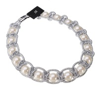Fashion Jewelry Silver Gold Chain White Pearl Collar Choker Statement BK Necklace