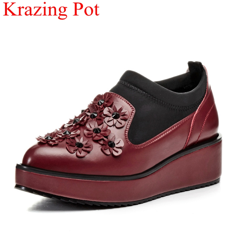 2018 fashion cow leather flower rivet wedge women pumps concise sweet office lady elegant sneaker slip on party casual shoe L1f1