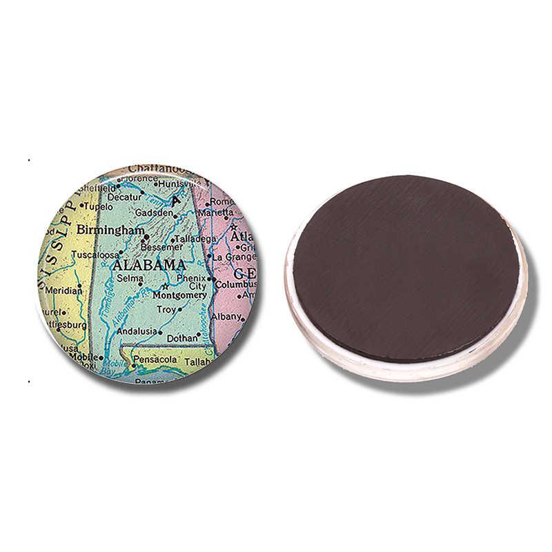 Alabama State Peta 30 MM Montgomery Peta Wisata Kaca Cabochon Catatan Pemegang Magnet Kulkas Stiker Kulkas Magnet Dekorasi Rumah
