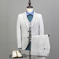 Wedding men suits white business blazer classic jacket slim fit male tuxedos ivory coat three piece suit (Jacket+Pants+Vset)