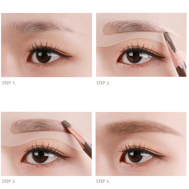 EFERO 4pcs Professional Eyebrow Stencil Make Up Tools Eyebrow Shaper Mold Set Eye Brow Stencil Set Card Eyebrow Template Makeup 4