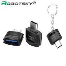 Robotsky Тип C к USB 2,0 конвертер тип-c OTG адаптер USB C кабель для samsung huawei Letv Macbook Matebook(China)