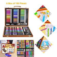 150pcs 마법의 1 상자 수채화 물감 펜 리드 크레용 왁스 스틱 세트 나무 상자 아트 세트 그림 학습 도구 아이 선물