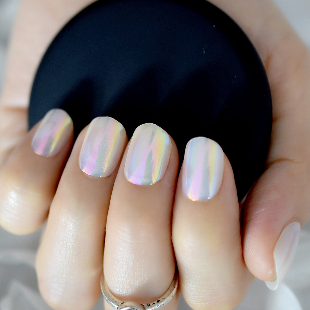 24pcs Holographic Rainbow Short Fake Nail Art Tips Round
