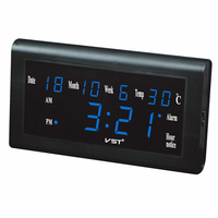 13 inch Large LED calendar Wall Clock with temp display desktop electric LED alarm clock Living room decor clock