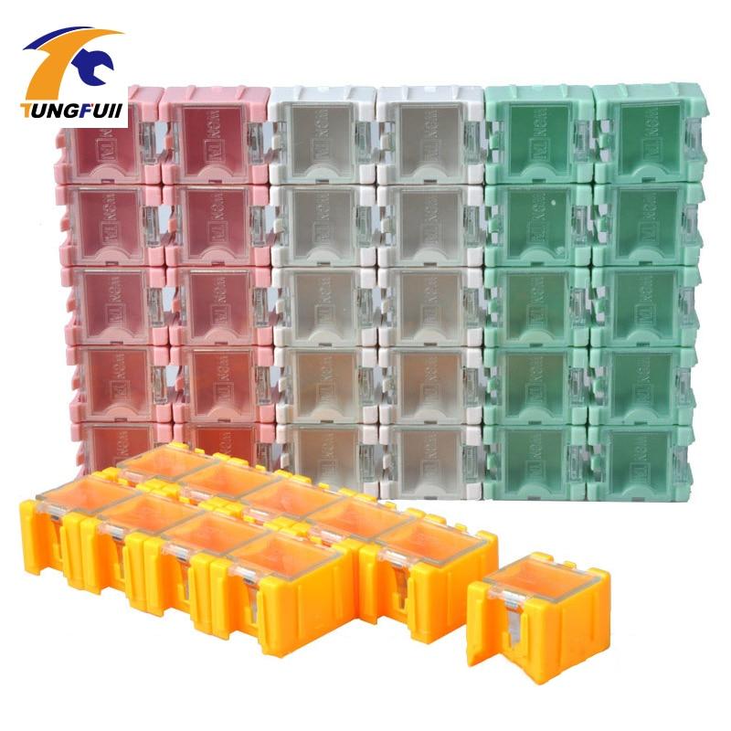 حمل و نقل سریع 50pcs SMD SMT جزء جعبه های ذخیره سازی کانتینر الکترونیکی جعبه مورد الکترونیکی 1 # جعبه وصله به طور خودکار ظهور