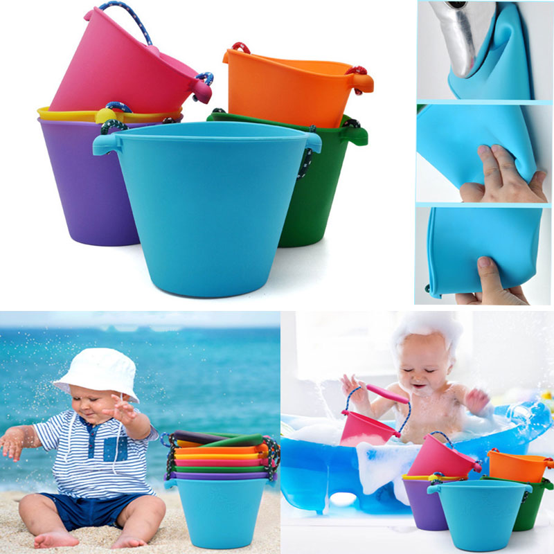 Baby Foldable Beach Bucket Silicone Folding Hand-held Barrel Toy Kids Bath Toy Sand Dabbling Pour Water Toy Collapsible Basin