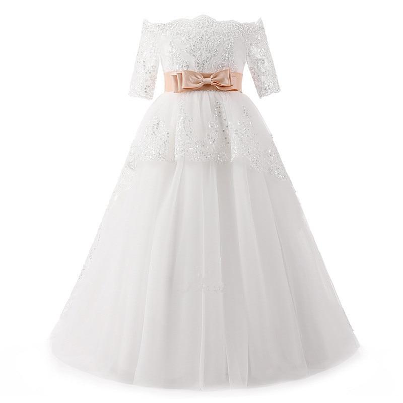 Walk Beside You White Vestidos De Comunion Gown for Girls Off Shoulder Half Sleeves Lace Applique Sequined Dresses Flower Girls