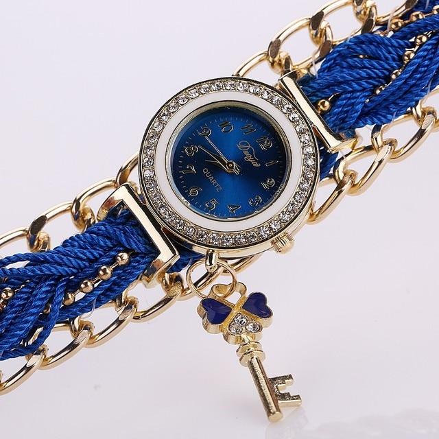 Fashion Brand Duoya Watches Women Casual Braided Analog Quartz Rhinestone Watch Ladies Hours Bracelet Watch Dropshipping