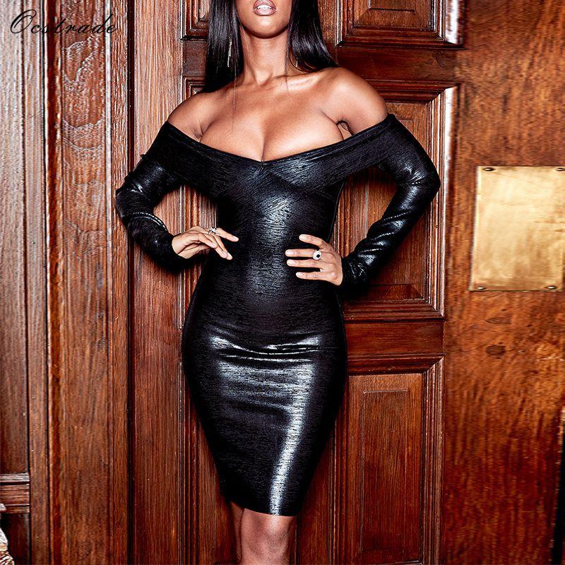 Ocstrade Vestidos Bandage 2019 New Arrival Black Foil Printed Black Bandage Dress Off Shoulder Bodycon Long