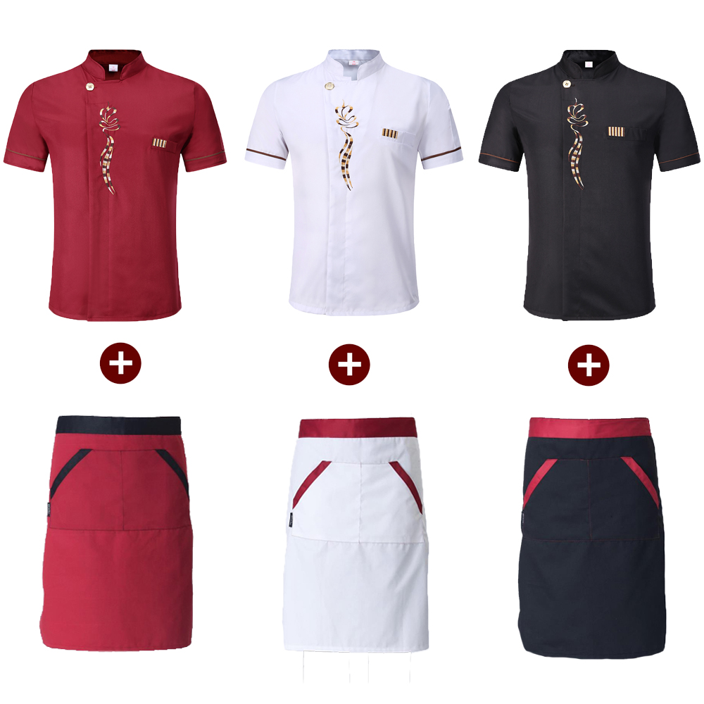 Chef Work Wear Tops Food Service Cafe Hotel Kitchen Cooking Jacket Short Sleeve T-shirt Floral Embroidery Clothing Uniform Apron