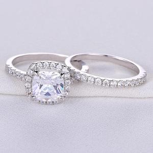 Image 4 - Newshe Solid 925 Sterling Silver Wedding Rings For Women 2.2 Ct Square Cushion Cut AAA Cubic Zircon Engagement Ring Set