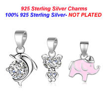 100% 925 Sterling Silver Dolphin Pendant Charm Crystal Bear Necklace Charm Vnistar Baby Elephant Charms for Jewelry Wholesale(China)